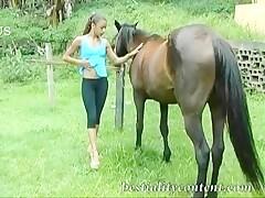 A horse fuck Horny farmer